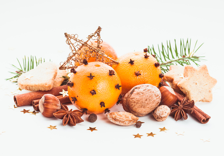 Aroma of Christmas - fir, tangerins and spices photo