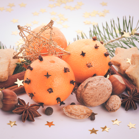Aroma of Christmas - fir, tangerins and spices. Christmas cookies vintage styled photo