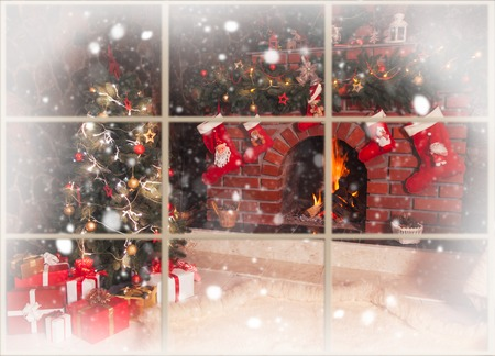 Christmas decorated fireplace and tree in the room - view throw the window, outdoor