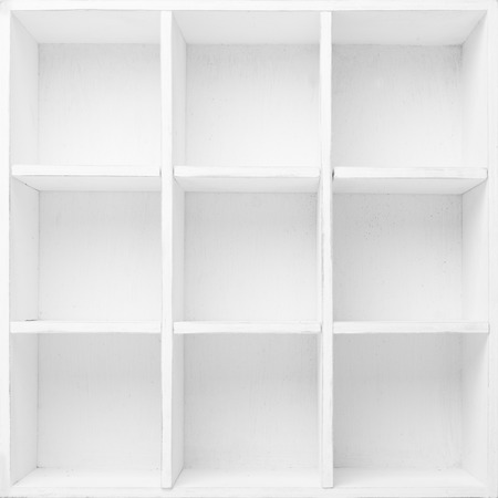 Empty Shelves in the white wooden rack photo