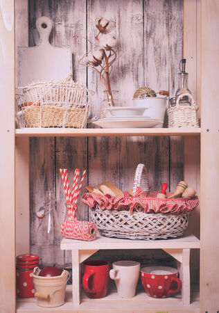 homeware: Lovely homeware and dishware in the kitchen at shabby chic style Stock Photo