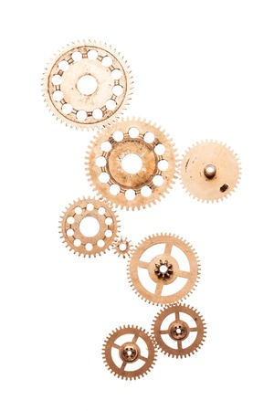 clock gears: Steampunk details isolated on white. Mechanical clocks details, gears as a fantasy device Stock Photo