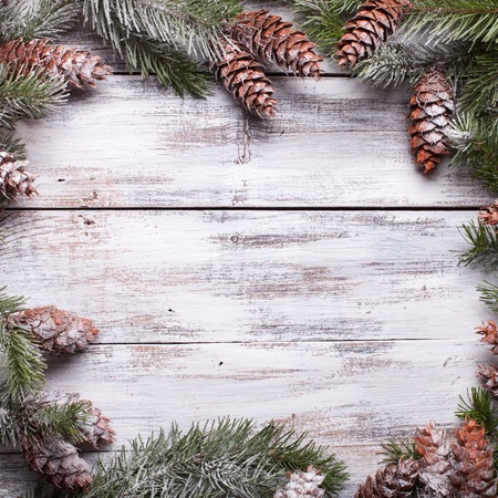 White shabby Christmas border Фото со стока