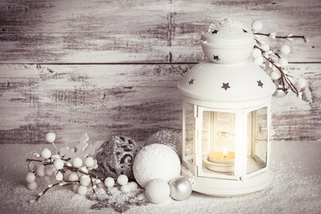 Cristmas lantern with snow Foto de archivo