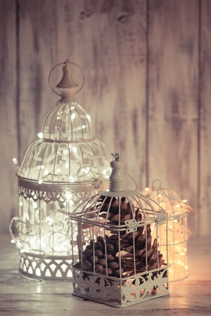 wedding table decor: Christmas light in a cage