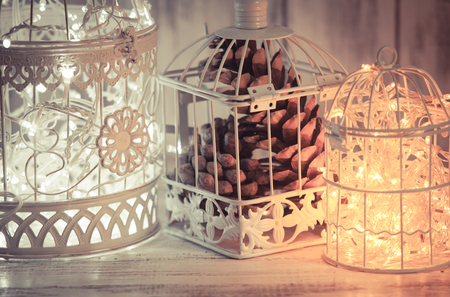 white winter: Christmas light in a cage