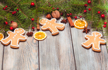 Gingerbreads and fir tree photo
