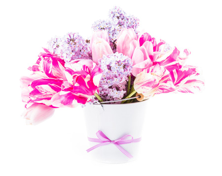Bouquet from tulips and lilac photo