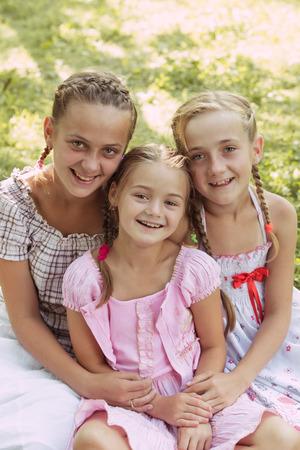 10 to 12 years old: Three girls