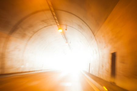 Light at the end of tunnel. Life motion concept