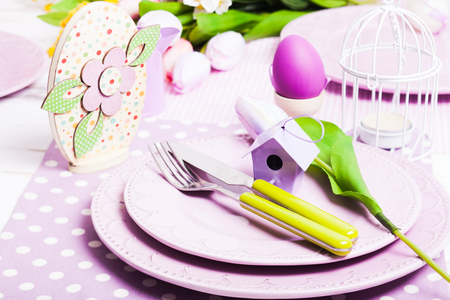 flatware: Easter serving, lilac plates and green flatware and decor