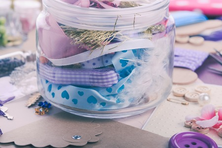 art and craft: Art craft supplies in a jar on table