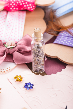 art and craft: Art craft supplies on table