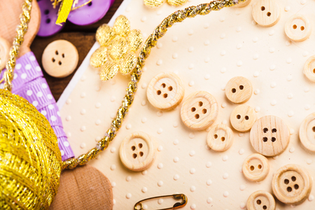 art and craft: Art craft buttons on table