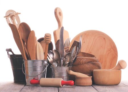 homeware: Wooden utensils Stock Photo