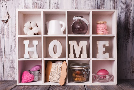 homeware: Shadowbox with home decorations