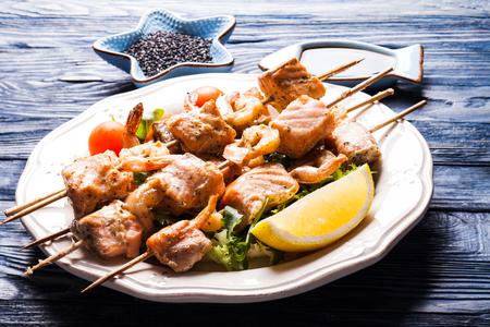 shashlik: Seafood shashlik Stock Photo