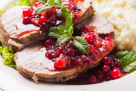 Beef with cranberry sauce Stock Photo
