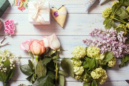 Blumenhändler am Arbeitsplatz