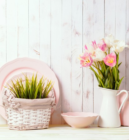 Kitchen table top in rustic shabby chic style, pink decorations