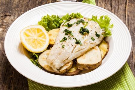 potato cod: Baked cod fillet on rustic potato pillow