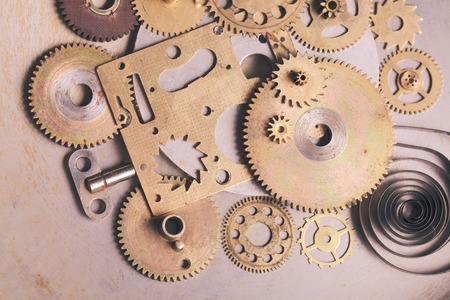 old metal: Steam punk from mechanical clocks details over old metal . Inside the clock, gears