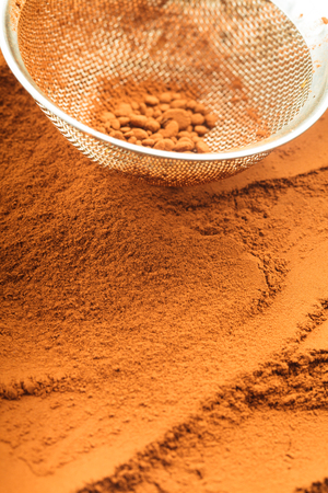 sieve: chocolate powder and sieve, prepared for cooking