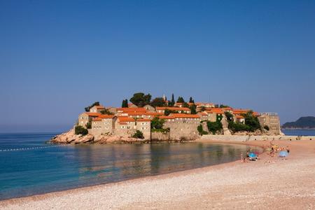 islet: Adriatic Sea, small islet and resort - St. Stefan Montenegro Europe Stock Photo