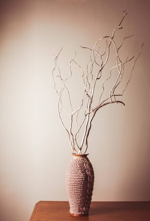Dry Wood Branches In Knitted Vase For Decorations Stock Photo