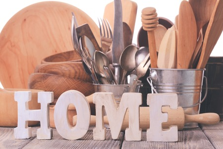 homeware: Rustic style kitchen - wooden and retro untersils and HOME letters