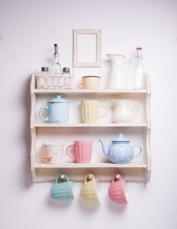 kitchen utensil: Vintage shelf in the kitchen, shabby chic style, retro toned