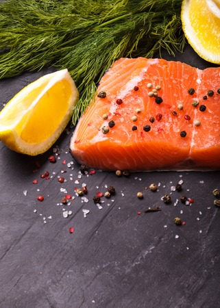 rosmarin: Piece of salmon with spices and lemon. Copy space Stock Photo