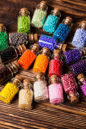 bead embroidery: Beads in the vintage mini glass bottles