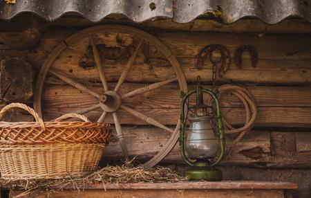 granary: Rural retro still life. Table near the granary