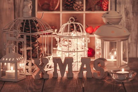 shabby: Christmas light and wooden letter decorations in shabby chic style