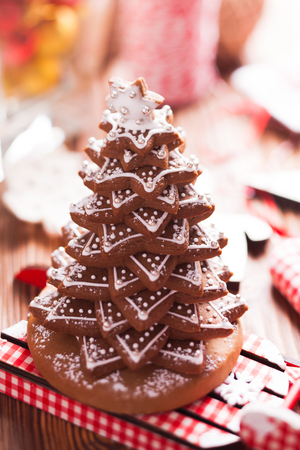 gingerbread cookies: Christmas decorations. Christmas tree from gingerbread cookies Stock Photo