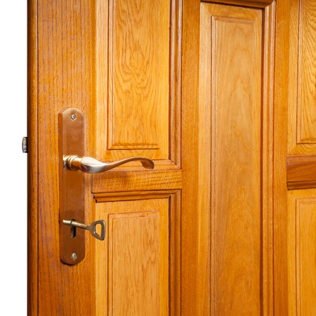 security gap: Open wooden door isolated on white for design Stock Photo