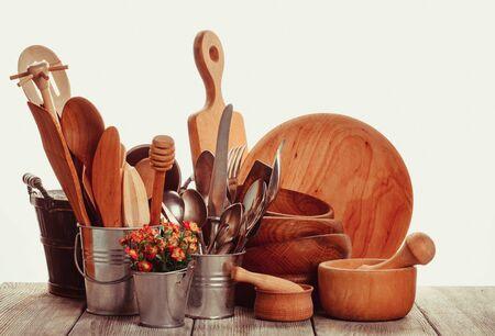 homeware: Rustic style kitchen - wooden and retro untersils Stock Photo