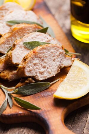 chicken breast: Spicy baked chicken breast with sage and lemon