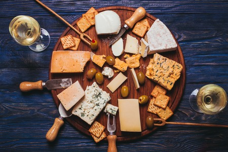 cheese plate: Pair have a nice evening with cheese plate and wine
