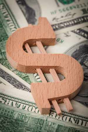 shrinkage: The cost of natural resources, wooden dollar sign