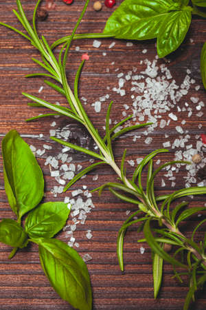sal: Scattered fresh basil and rosemary, sea salt and dry peppercorns Foto de archivo
