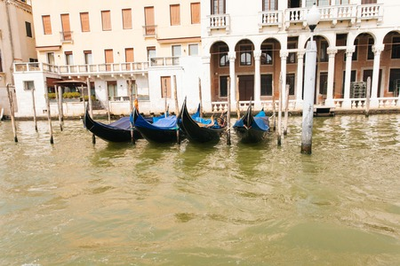water transportation: View on gondolas from Grand canal in Venice, Italy Stock Photo