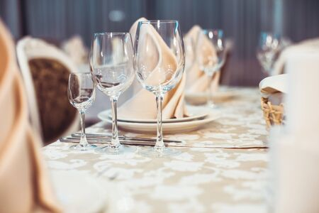 lunch table: Restaurant serving on the table close up Stock Photo