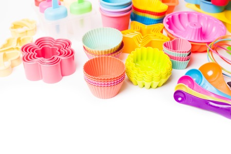 silicone: Rainbow silicone confectionery utensils on a white background