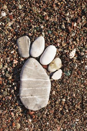 vocation: Stone foot on the seashore. Spa or vocation concept. Adriatic sea.