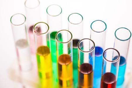 rainbow cocktail: Raibow liqhuids in test tubes on a rack