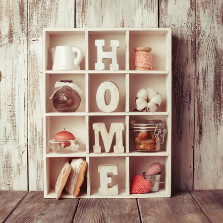 shadow box: Shadow box with wooden letters home and cozy things