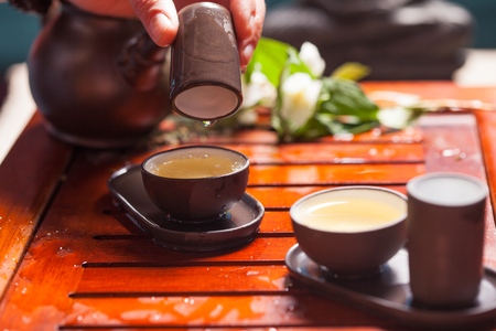 Close-up table with  earthenware for Chinese tea ceremony Stock Photo