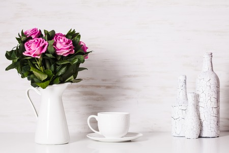 craquelure: White still life with roses and cup
